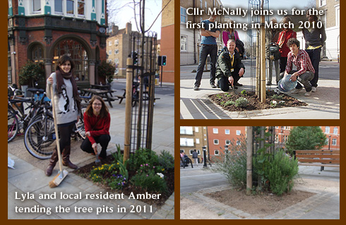 Lyla and Amber Arnold tending the tree pits of Trinity Street
